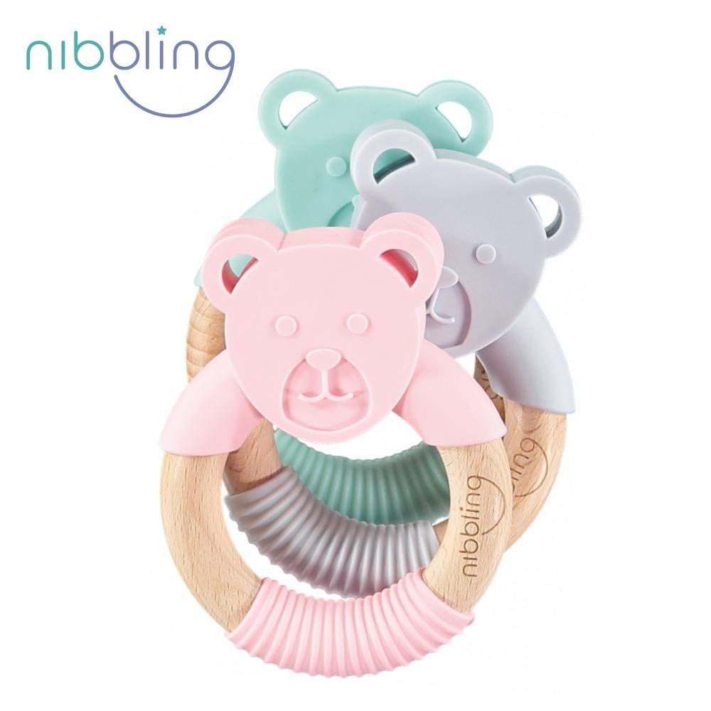 【Nibbling】矽膠可咬動物造型櫸木手握環森林好朋友固齒器-熊熊