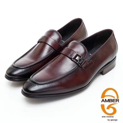 AMBER紳士品味漸層皮革金屬扣環直套式紳士皮鞋-酒紅色