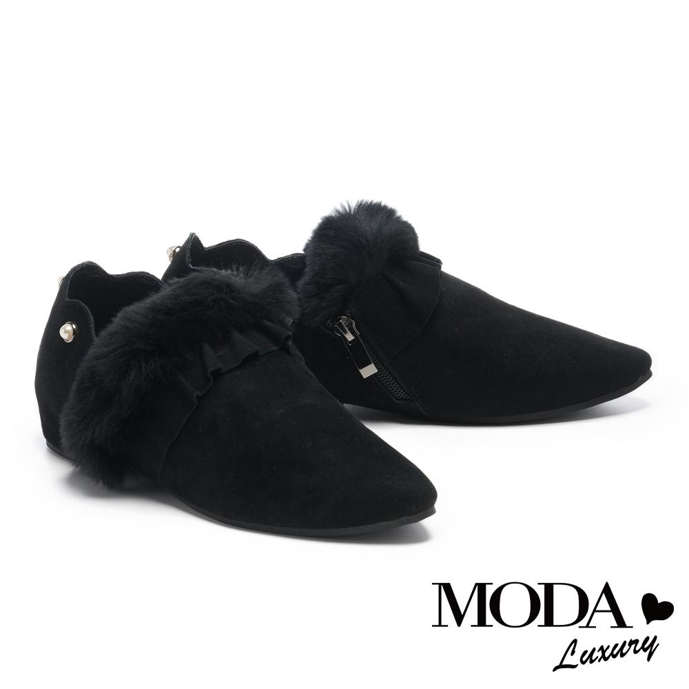 平底鞋 MODA Luxury 暖暖荷葉毛茸造型全真皮平底鞋-黑