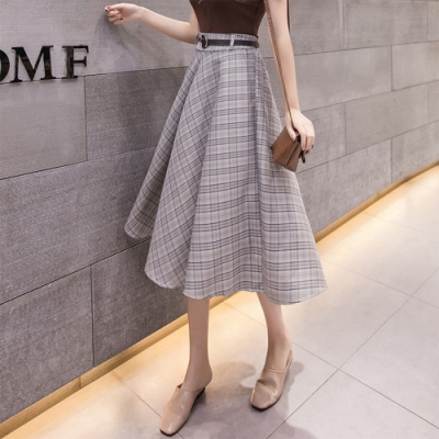 【KISSDIAMOND】高腰顯瘦優雅格子半身裙(2色S-XL/輕熟女/氣質款/KDD-9726)