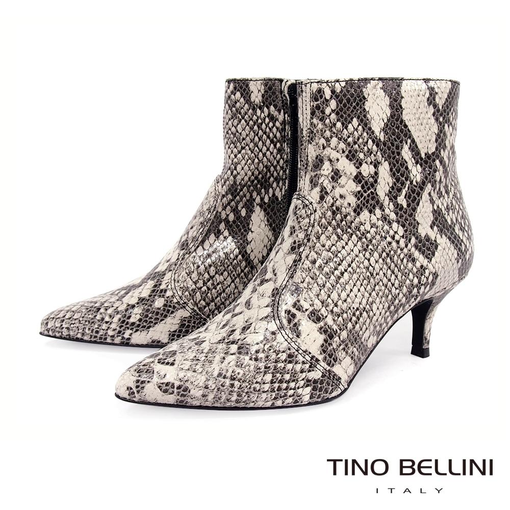 Tino Bellini義大利進口神祕性感蛇紋中跟短靴_蛇紋