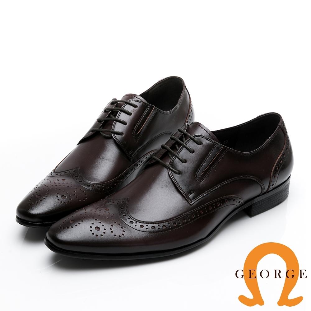 GEORGE 喬治皮鞋 氣墊系列 真皮雕花繫帶核心氣墊紳士鞋-咖啡色