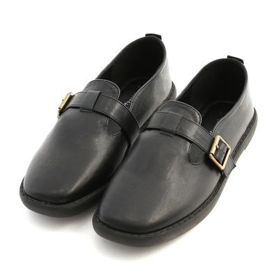 D+AF 鄰家女孩.T字釦環素面平底鞋*黑