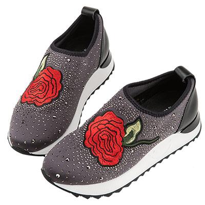Robinlo 玫瑰刺繡貼鑽襪子休閒鞋 灰