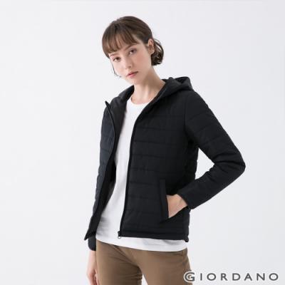GIORDANO  女裝素色鋪棉連帽外套 - 09 標誌黑