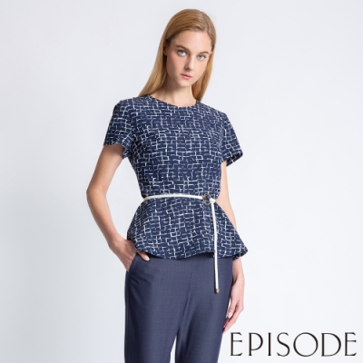 EPISODE - 氣質滿版幾何荷葉擺上衣(深藍)