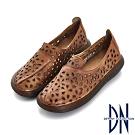 DN 歐美簡約 牛皮雕花厚底造型休閒鞋-棕