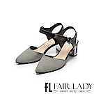 Fair Lady優雅小姐Miss Elegant格紋拼接扣環尖頭粗跟涼鞋 黑條紋