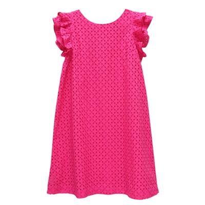 Ralph Lauren 女童簍空刺繡連身裙洋裝-桃紅色(16歲)