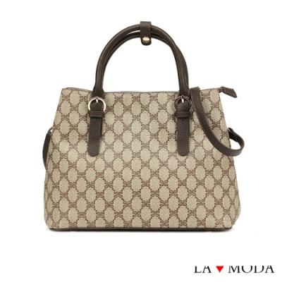 La Moda 最HOT時尚元素Logo壓紋大容量手提肩背斜背托特包