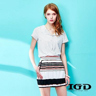 IGD英格麗 清爽細條紋開領襯衫-白色