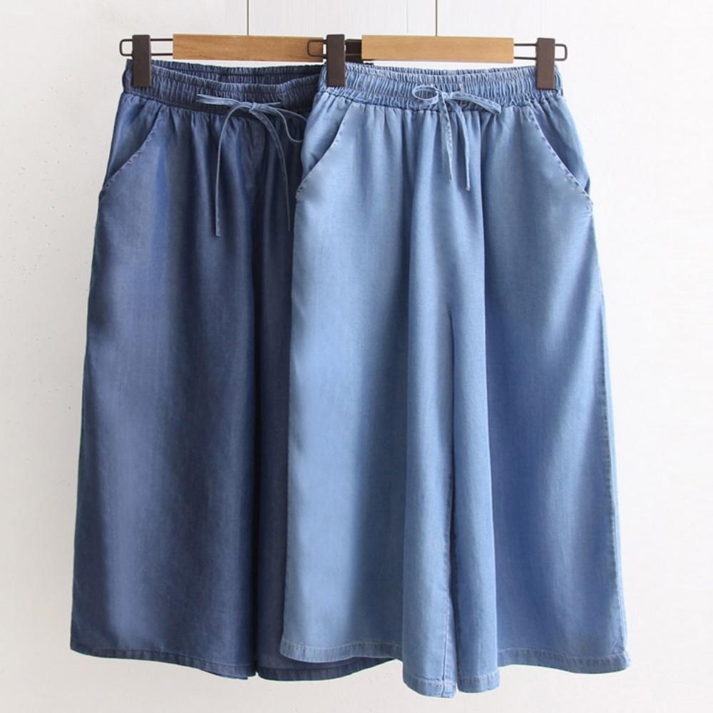 La Belleza素色鬆緊腰抽繩側口袋薄料牛仔七分褲闊腿褲