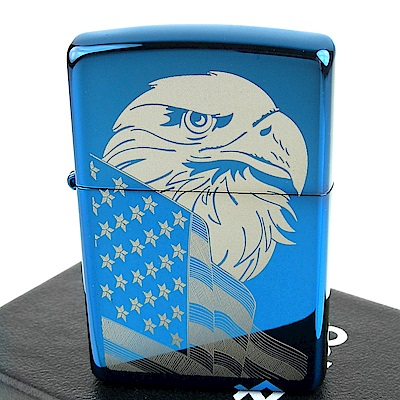 ZIPPO 美系~Eagle and Flag-美國國旗鷹圖案設計打火機