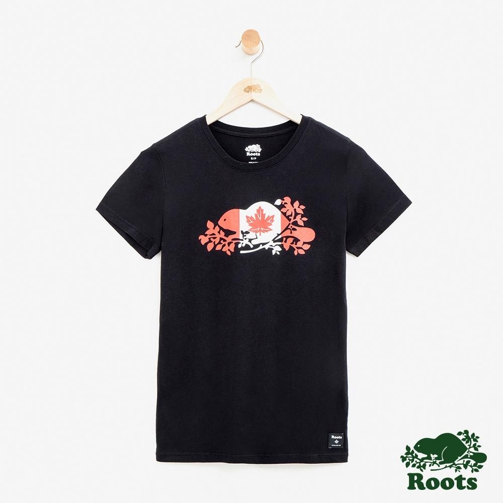女裝Roots加拿大系列-海狸國旗短袖T恤-黑