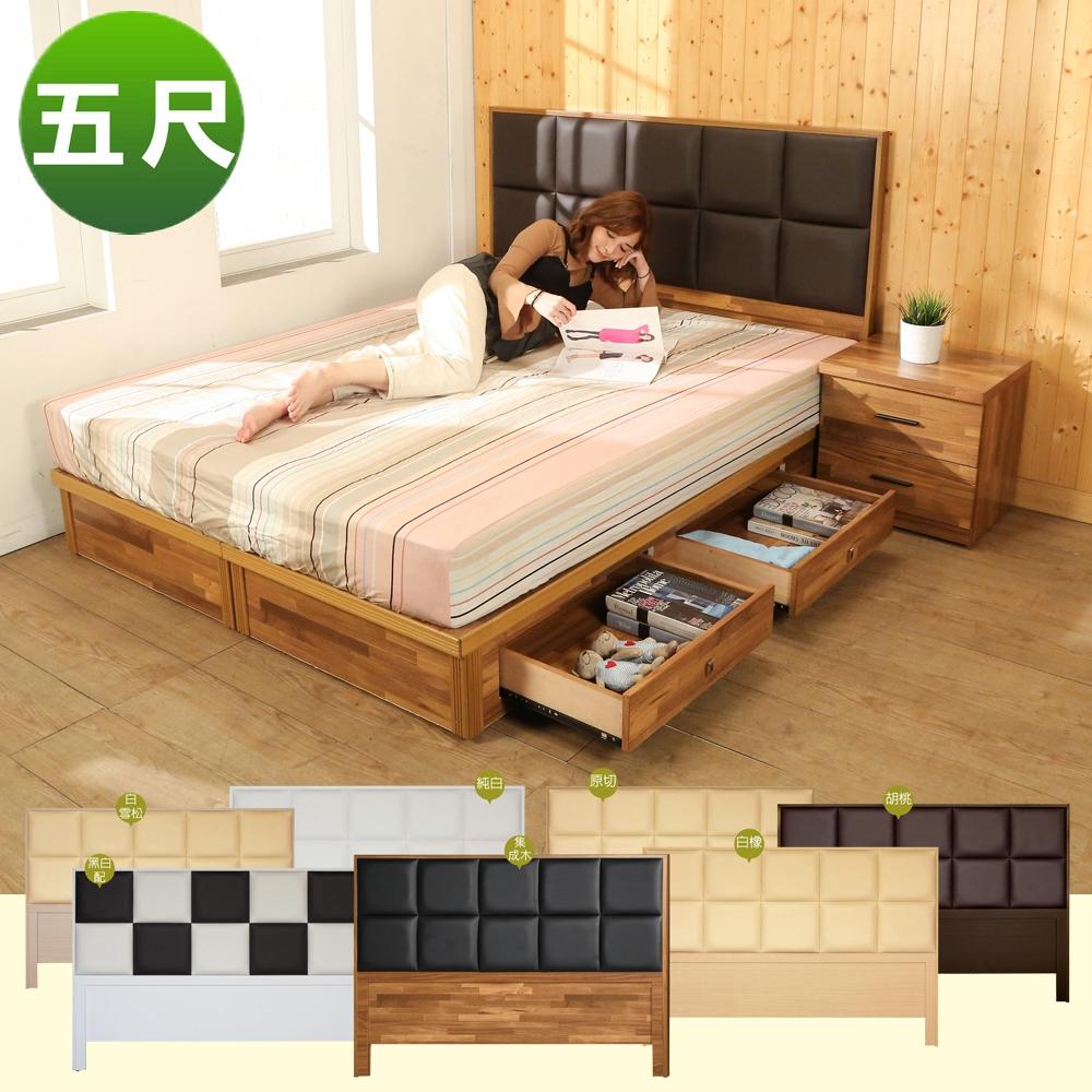 BuyJM雙人5尺皮革床頭片+4抽床底2件式房間組(7色)-免組