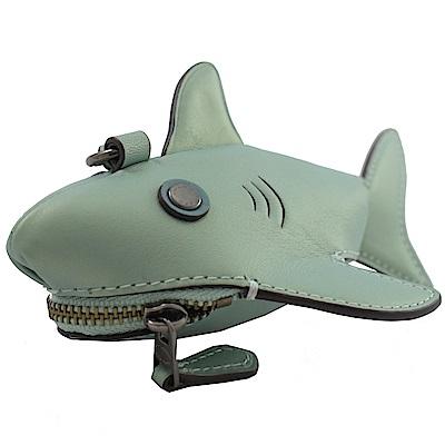 COACH 立體造型牛皮零錢包(珠光綠/鯊魚)