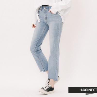 H:CONNECT 韓國品牌 女裝 -水洗刷色造型牛仔褲-藍