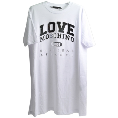 LOVE MOSCHINO 立體字燙銀字母白色棉質短袖長版T恤(白色/44號)