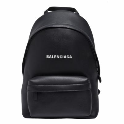 BALENCIAGA Everyday系列品牌字母LOGO小牛皮拉鍊手提後背包(小-黑色)