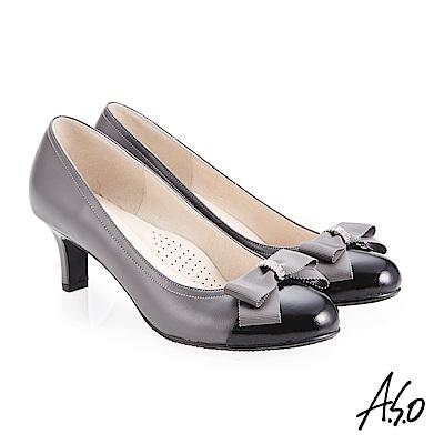 A.S.O 義式簡約 水鑽織帶蝴蝶結高跟鞋 灰