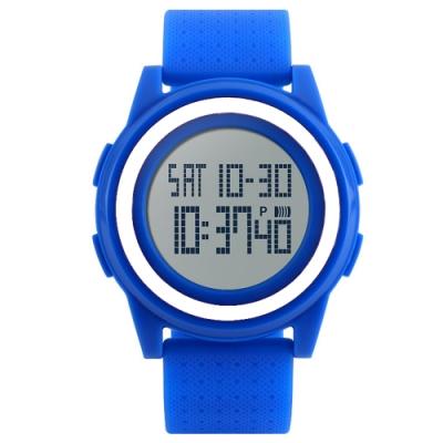 Mirabelle雙框炫色 LED鬧鐘防水矽膠手錶 藍帶白框45mm