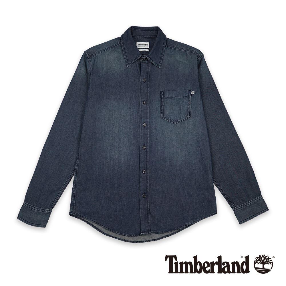 Timberland 男款水洗深藍色長袖丹寧襯衫 A1NJZ