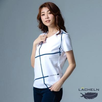 【LACHELN】抗UV彈力棉經典印刷女V領短T恤-L92WK01白色