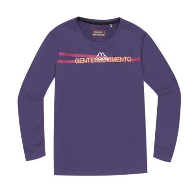 KAPPA義大利 舒適時尚女長袖針織圓領T恤 深紫3114E7WUS6