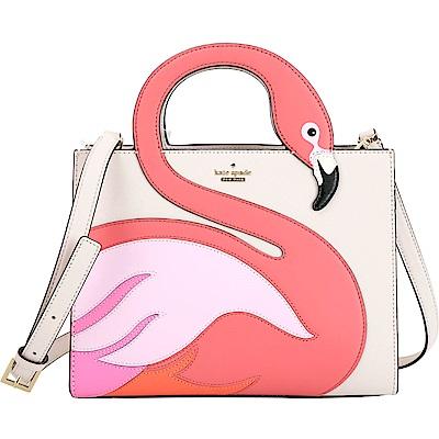 Kate Spade Flamingo Sam 紅鶴拼接防刮手提包(杏色)