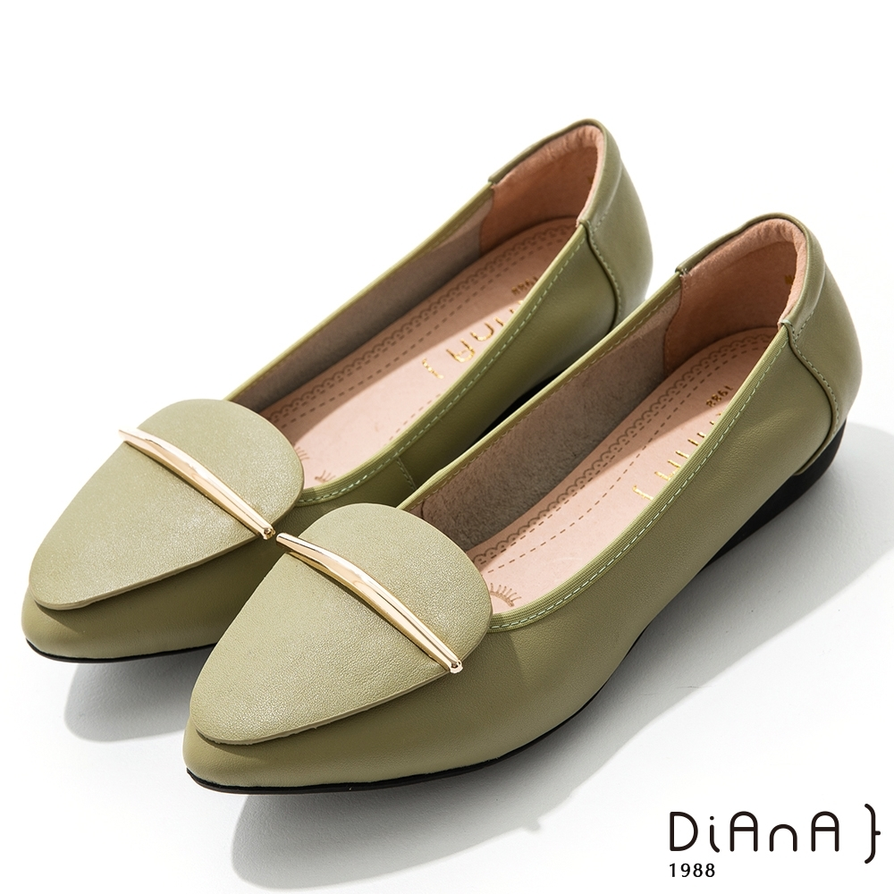 DIANA 2.5cm牛皮幾何拼接金屬飾釦尖頭娃娃鞋-漫步雲端焦糖美人-綠
