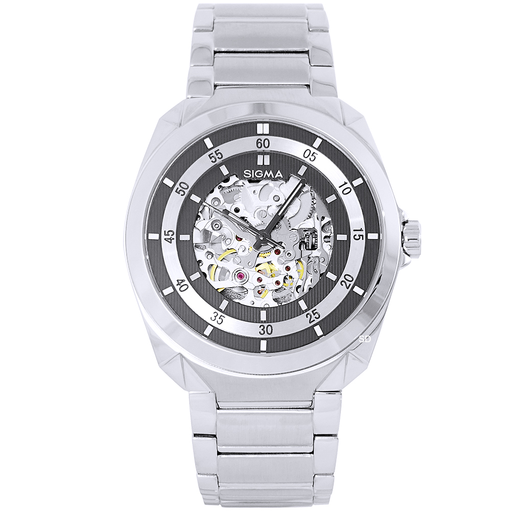 SIGMA 紳士時尚鏤空機械手錶-銀/41mm