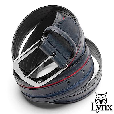 Lynx - 美國山貓尊爵男品撞色真皮穿針式皮帶