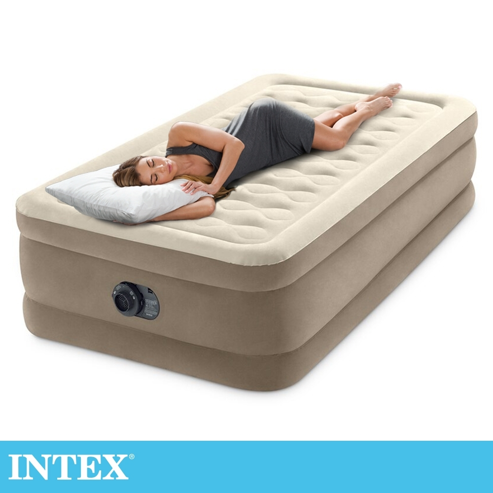【INTEX】超厚絨豪華單人加大充氣床-寬99cm (內建電動幫浦-fiber tech)(64425)