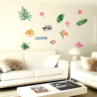 半島良品 DIY北歐風無痕壁貼 SK7173-水彩風綠植樹葉 50x70