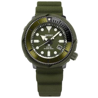 SEIKO PROSPEX 太陽能潛水錶日期防水200米矽膠手錶-軍綠色/45mm