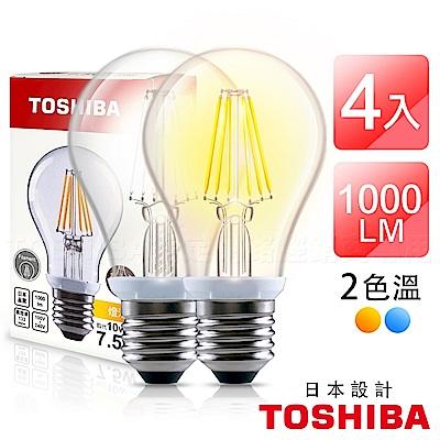TOSHIBA東芝 7.5W LED球型燈絲燈泡-4入組(晝光色/燈泡色)