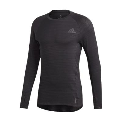 adidas T恤 Runner Long Sleeve 男款 愛迪達 長袖 運動 袖套 反光 夜跑 黑 GC6733