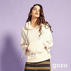 gozo 拚色寬袖造型口袋抽繩帽T(米白)