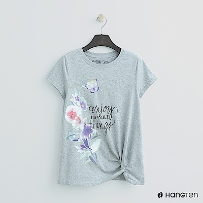 Hang Ten - 女裝 - 扭結下擺印花T恤 - 灰