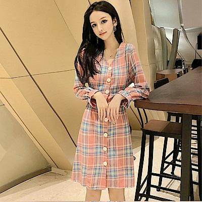 DABI 韓國風復古格紋氣質超仙甜美長袖洋裝