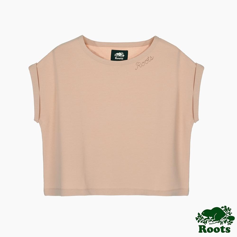 Roots 女裝- 摩登週間系列 簡約寬短版上衣-玫瑰淡粉色