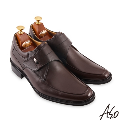 A.S.O  勁步健康內增高魔鬼氈紳士鞋-咖啡