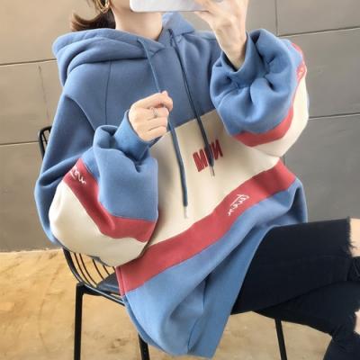 NUMI  拚色保暖連帽T恤-藍色-(M-2XL可選)