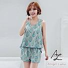 【AngelLuna日本泳裝】綠圖騰印花鋼圈四件式比基尼泳衣