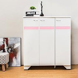 Birdie南亞塑鋼-3尺三門橫飾條塑鋼鞋櫃(白色+粉紅色)-91x37x104cm