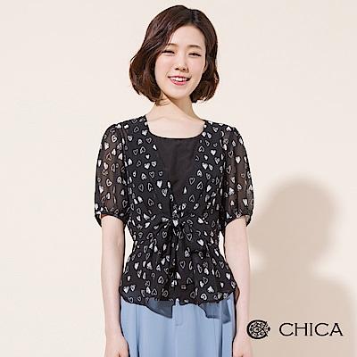 CHICA 手繪心型圖騰腰間綁帶雪紡上衣(1色)