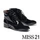 短靴 MISS 21 液感光澤皺漆全真皮綁帶低跟短靴-黑 product thumbnail 1