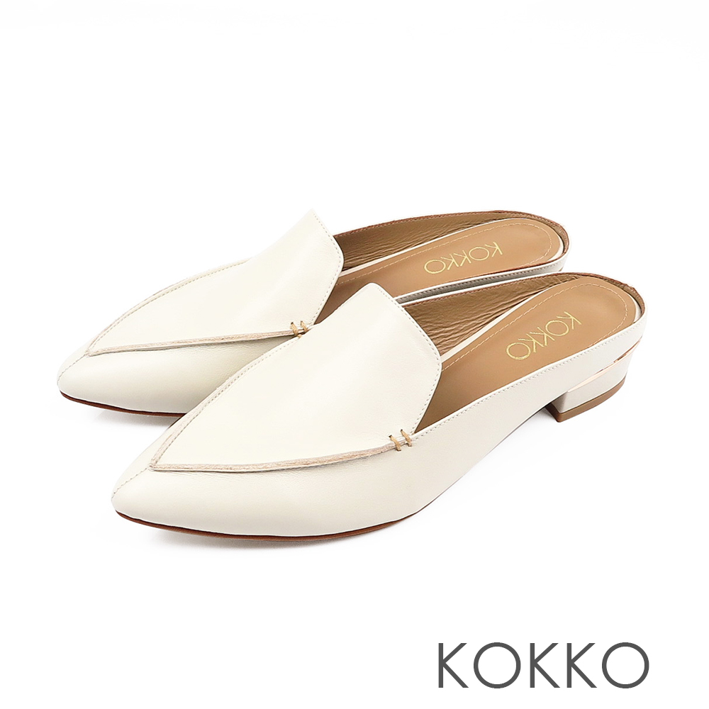 KOKKO -  理性與感性手工羊皮尖頭穆勒鞋-柔米白
