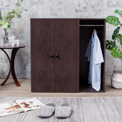 Birdie南亞塑鋼-防水二門一格組合式塑鋼衣櫃/雙吊桿塑鋼衣櫃/胡桃90x46.5x90