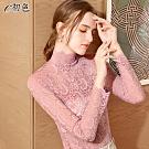 初色  半高領蕾絲透膚打底上衣-共7色-(M-2XL可選)